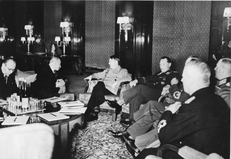 Adolf Hitler sat with President of Czechoslovakia, Emil Hacha