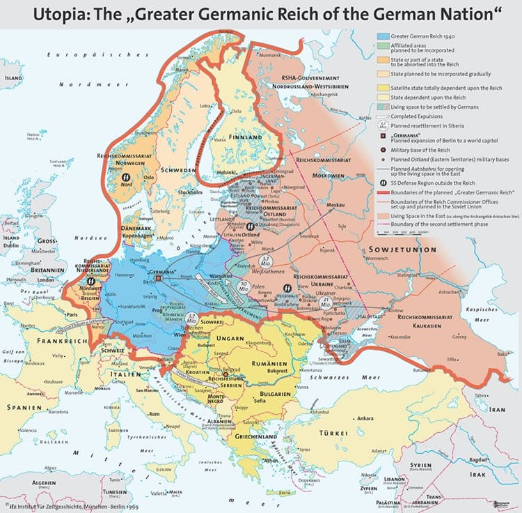 Map of the full extent of Hitler's plans for the Greater German Reich