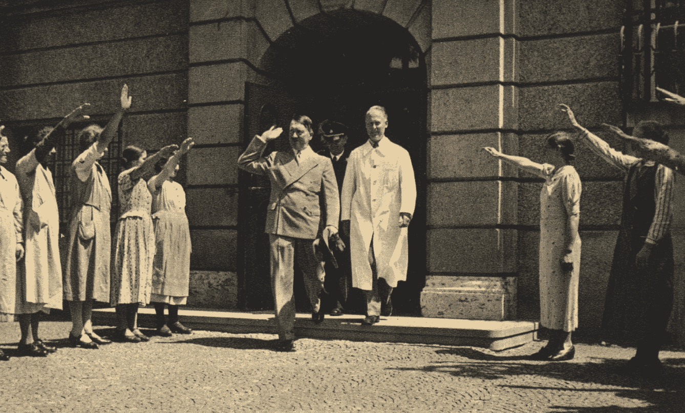 Adolf Hitler leaving an orthopedic clinic in Munich in 1937