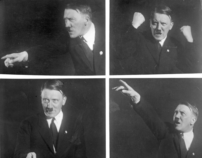 Adolf Hitler practices his trademark oratory skills