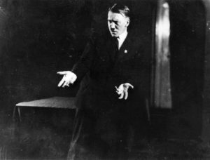 Adolf Hitler practices his speech techniques