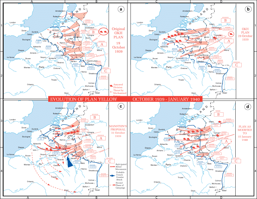 The evolution of Plan Gelb - the Nazi invasion of France - in 1940