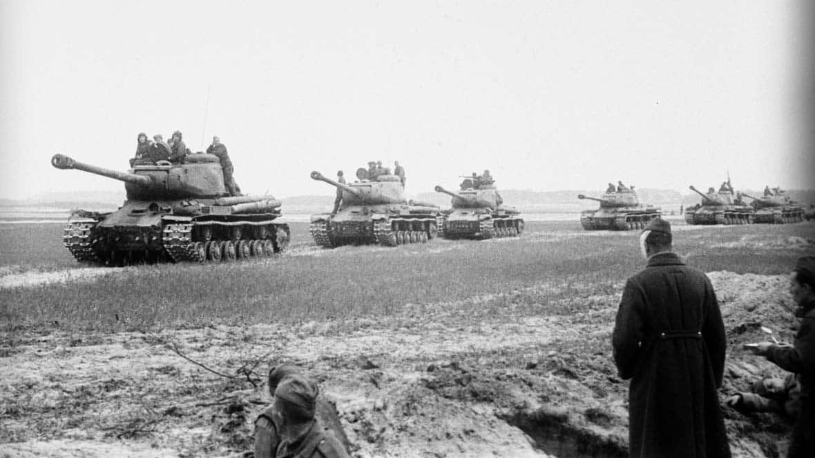A colum of ISII tanks near Berlin in 1945