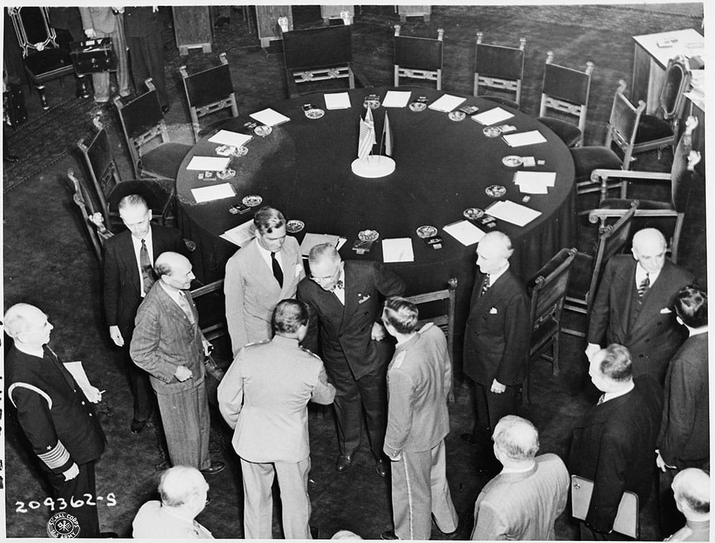 The Potsdam Conference - July 19th 1945 - The Potsdam Conference - July 19th 1945 -Truman greets Stalin at the start of the third plenary session of the Potsdam Conference