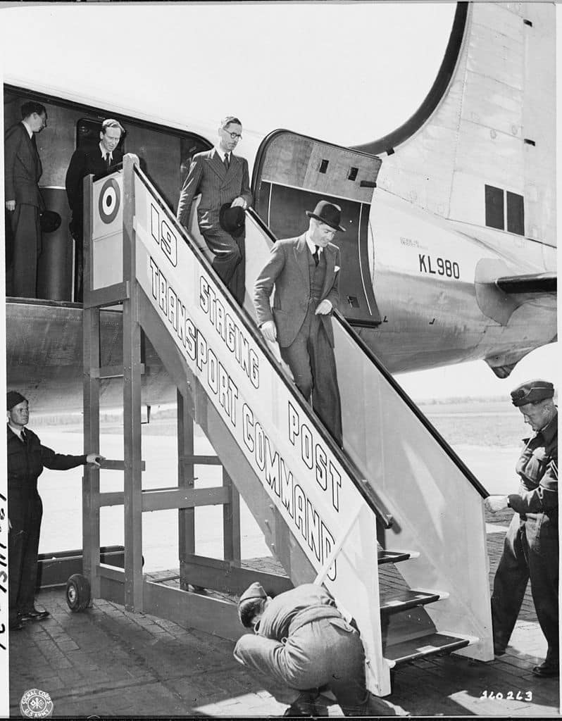 The Potsdam Conference - July 17th 1945 - British Foreign Secretary Anthony Eden arrives at Gatow Airport for the Potsdam Conference