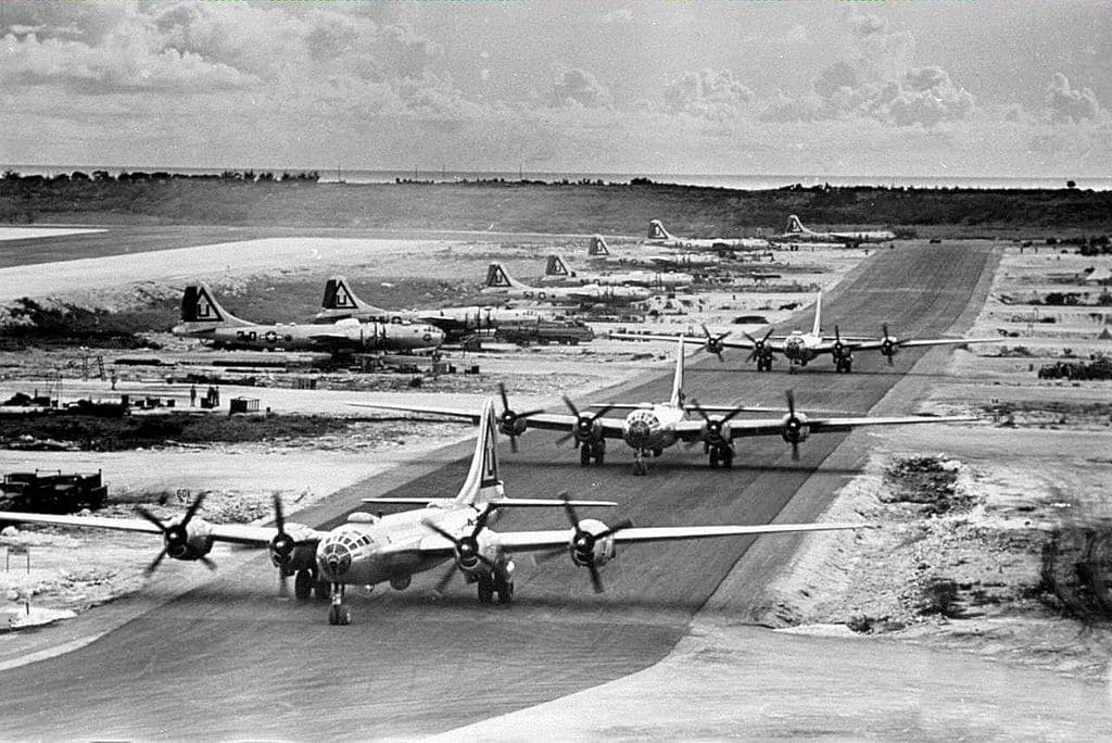The Potsdam Conference - July 25th 1945 - B29 Superfortresses on Tinian Island - These would be the aircraft that would deliver the atomic bombs to Hiroshima and Nagasaki