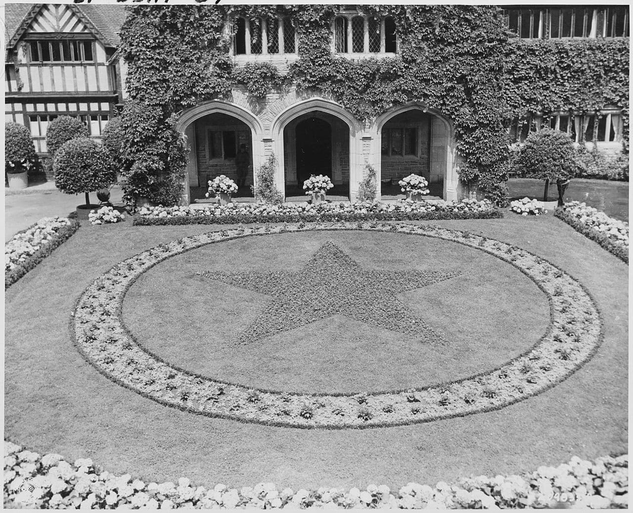 The Potsdam Conference - July 23rd 1945 - The main courtyard of Schloss Cecelienhof in 1945 - complete with its Soviet Red Star