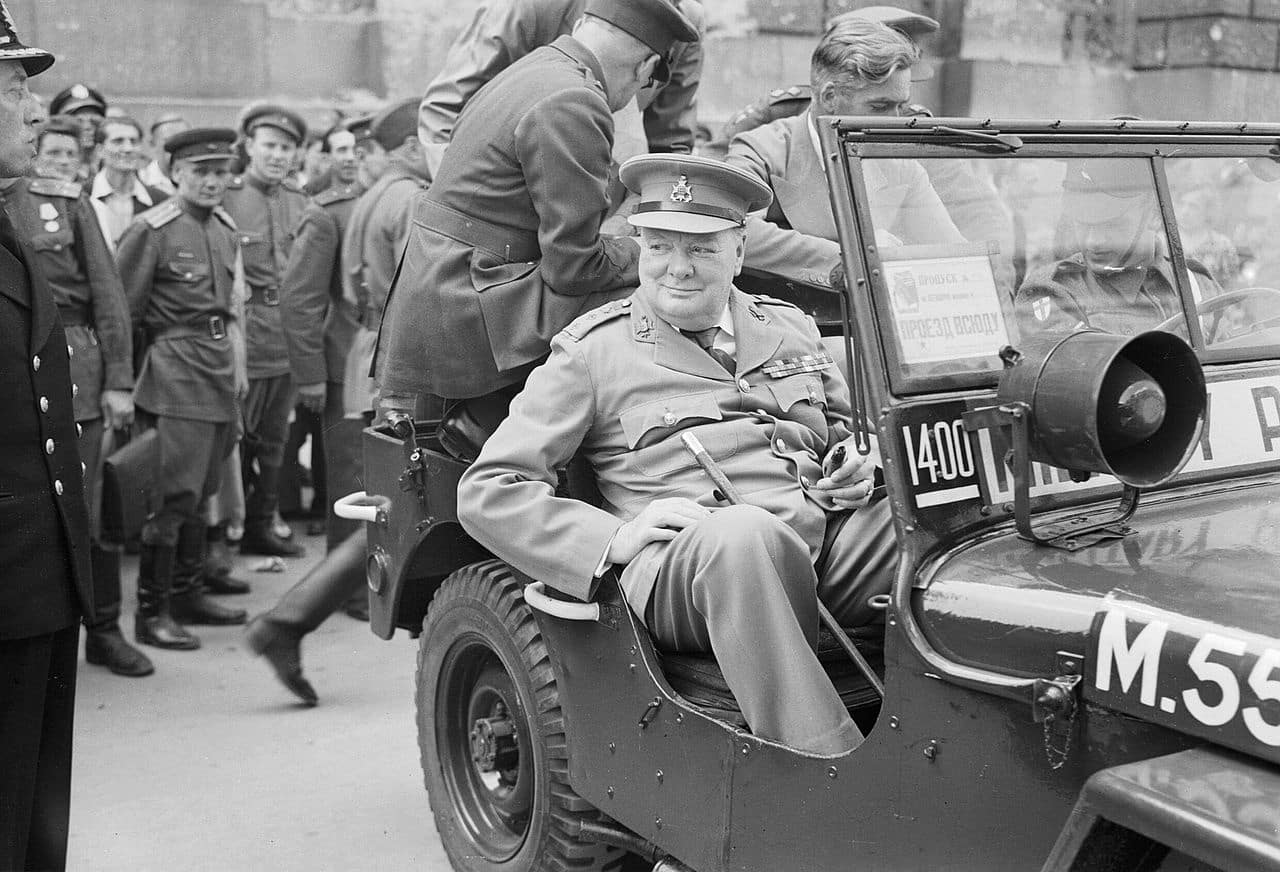 The Potsdam Conference - July 16th 1945 - Churchill Tours Berlin (pictured in front of the Reichstag)