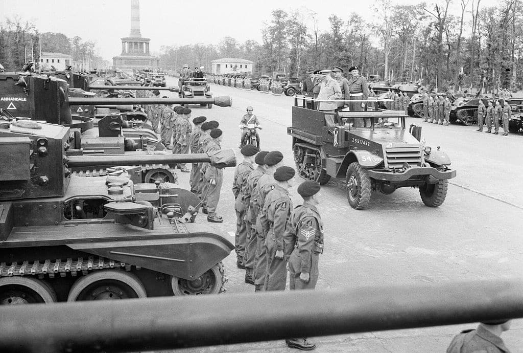 The Potsdam Conference - July 22nd 1945 - Winston Churchill, accompanied by Field Marshal Sir Bernard Montgomery and Field Marshal Sir Alan Brooke, inspects tanks of 7th Armoured Division
