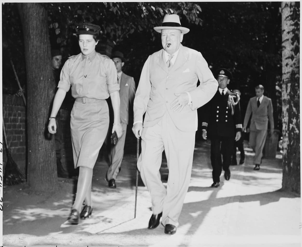 """The Potsdam Conference - July 16th 1945 - Prime Minister Winston Churchill of Great Britain, accompanied by his daughter, Mary Churchill, leaves the """"Little White House"""""""