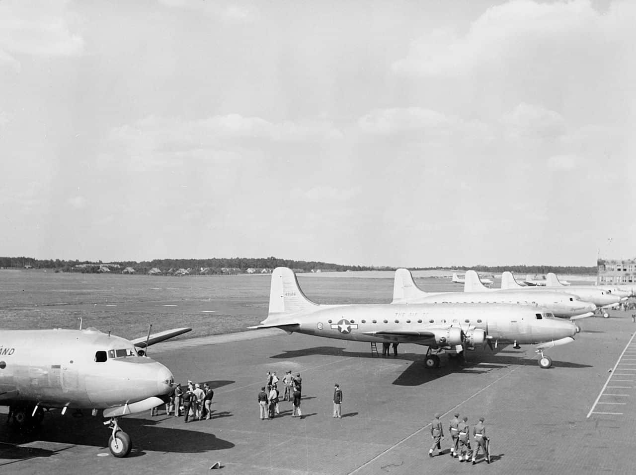 The Potsdam Conference - July 25th 1945 - US President Harry Truman's plane waits at Berlin Gatow airport
