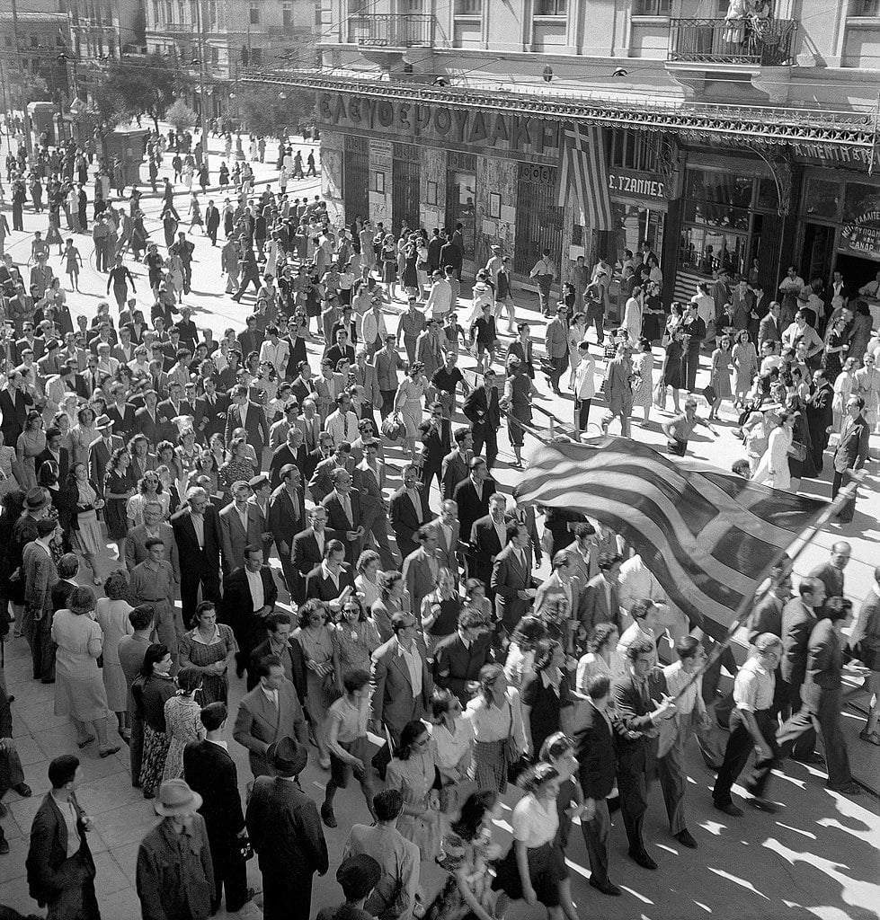 The Potsdam Conference - July 19th 1945 - Residents of Athens celebrating the liberation from the Axis powers, October 1944
