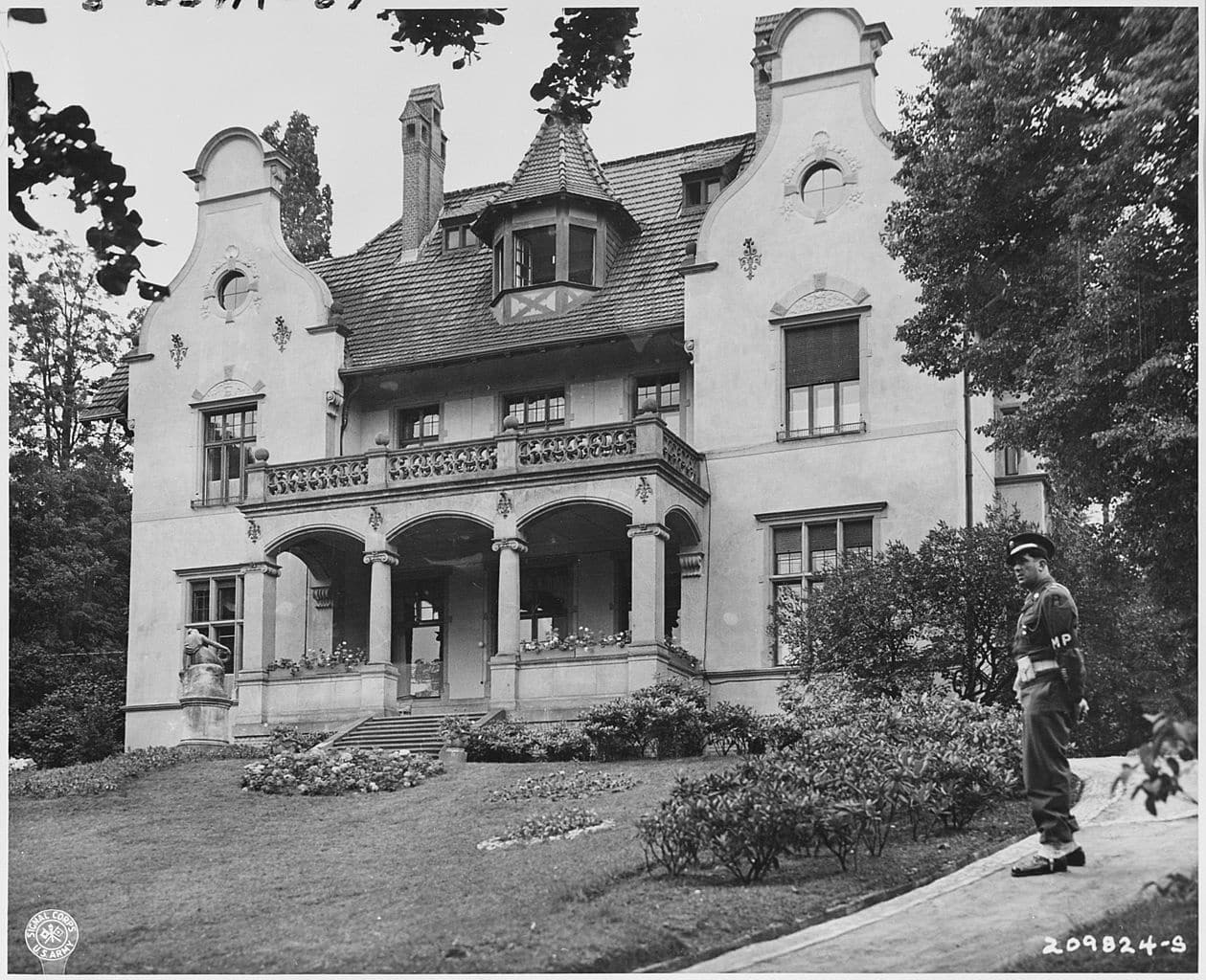 The Potsdam Conference - July 16th 1945 - Military Police stand guard in front of the 'Little White House'