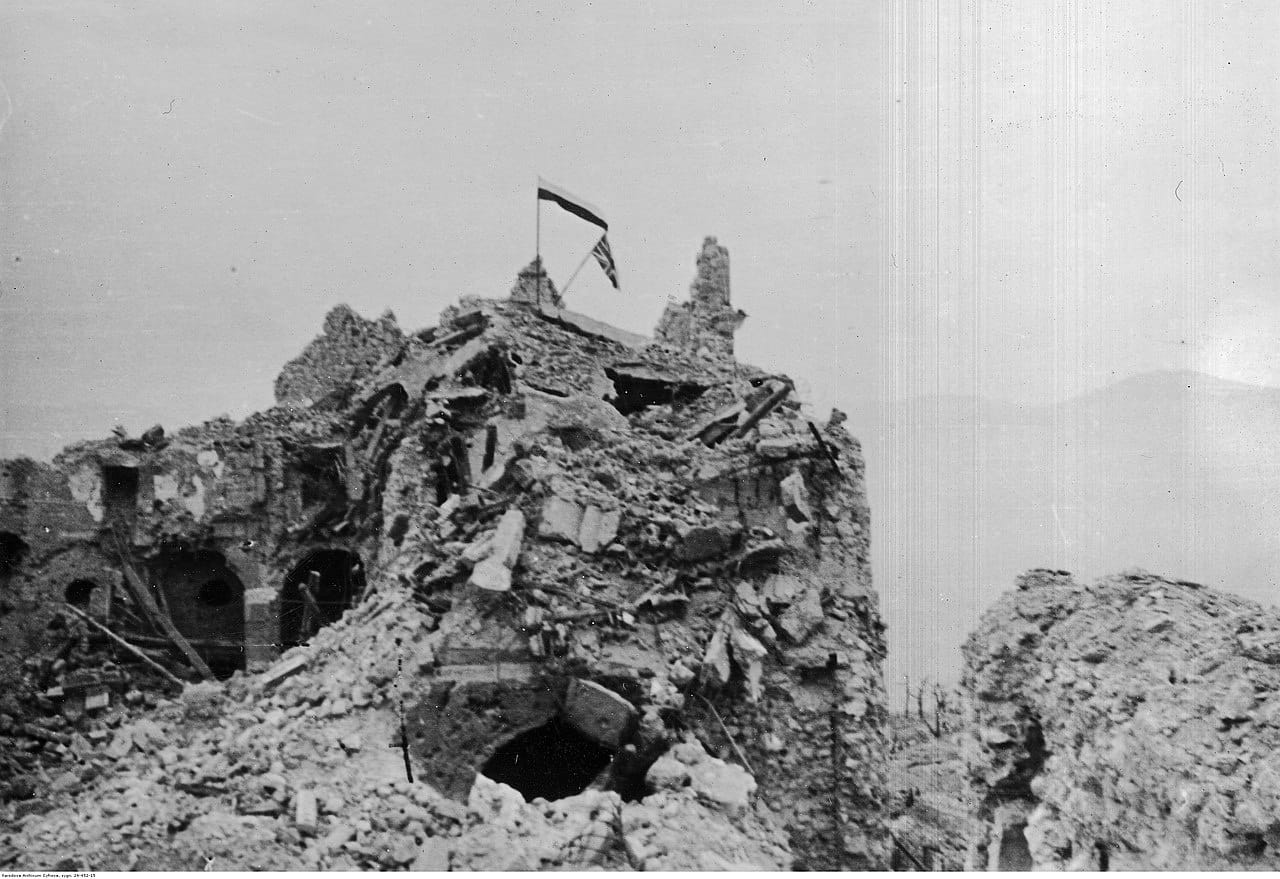 The Potsdam Conference - July 20th 1945 - Polish and British flags flying over the ruins of the monastery in Monte Cassino/Image: Archive of Tadeusz Szumański
