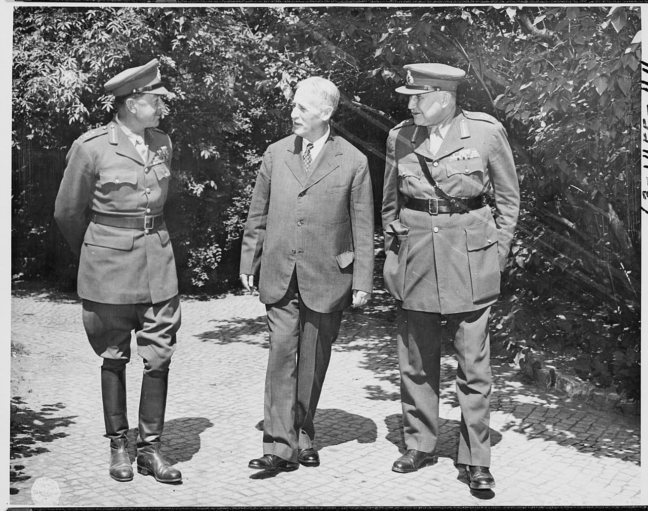 The Potsdam Conference - July 22nd 1945 - US Secretary of War Henry Stimson chatting with British Field Marshals Alexander and Maitland Wilson