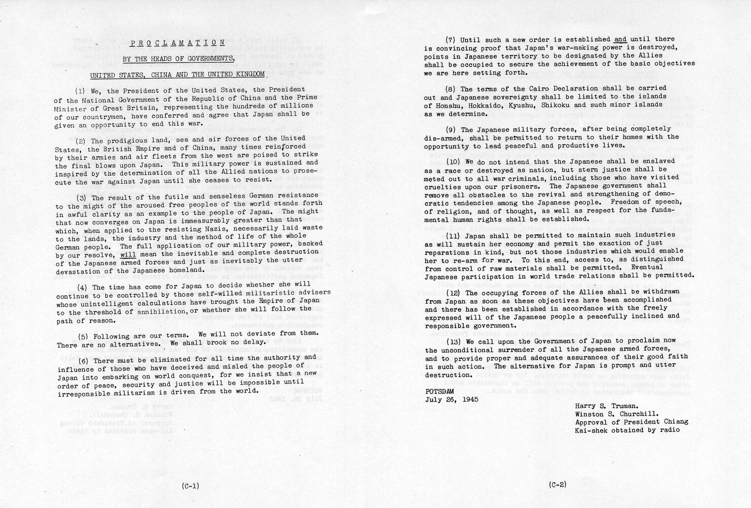 The Potsdam Conference - July 26th 1945 - The full text of the Potsdam Declaration