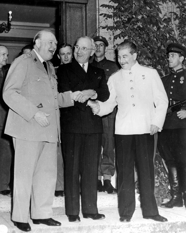The Potsdam Conference - July 23rd 1945 - The 'Triple Handshake' - Truman, Stalin, and Churchill in a jovial mood