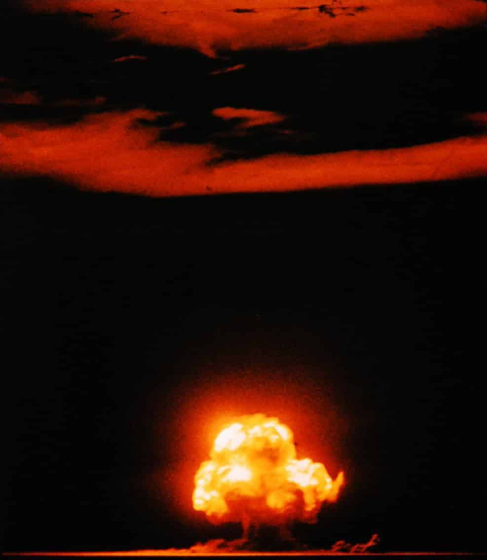 The Potsdam Conference - July 17th 1945 - A colour photograph of the Trinity shot - the first nuclear test explosion
