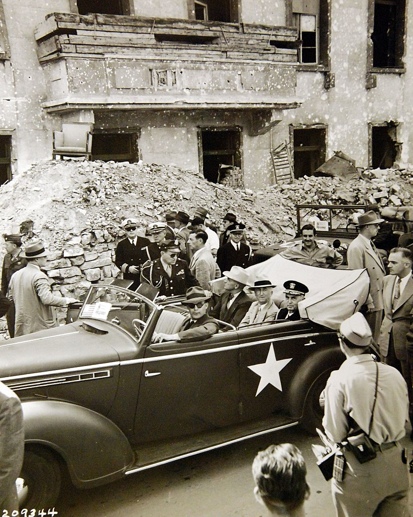 The Potsdam Conference - July 16th 1945 - Truman Tours Berlin (pictured in front of the ruins of Hitler's Chancellery)