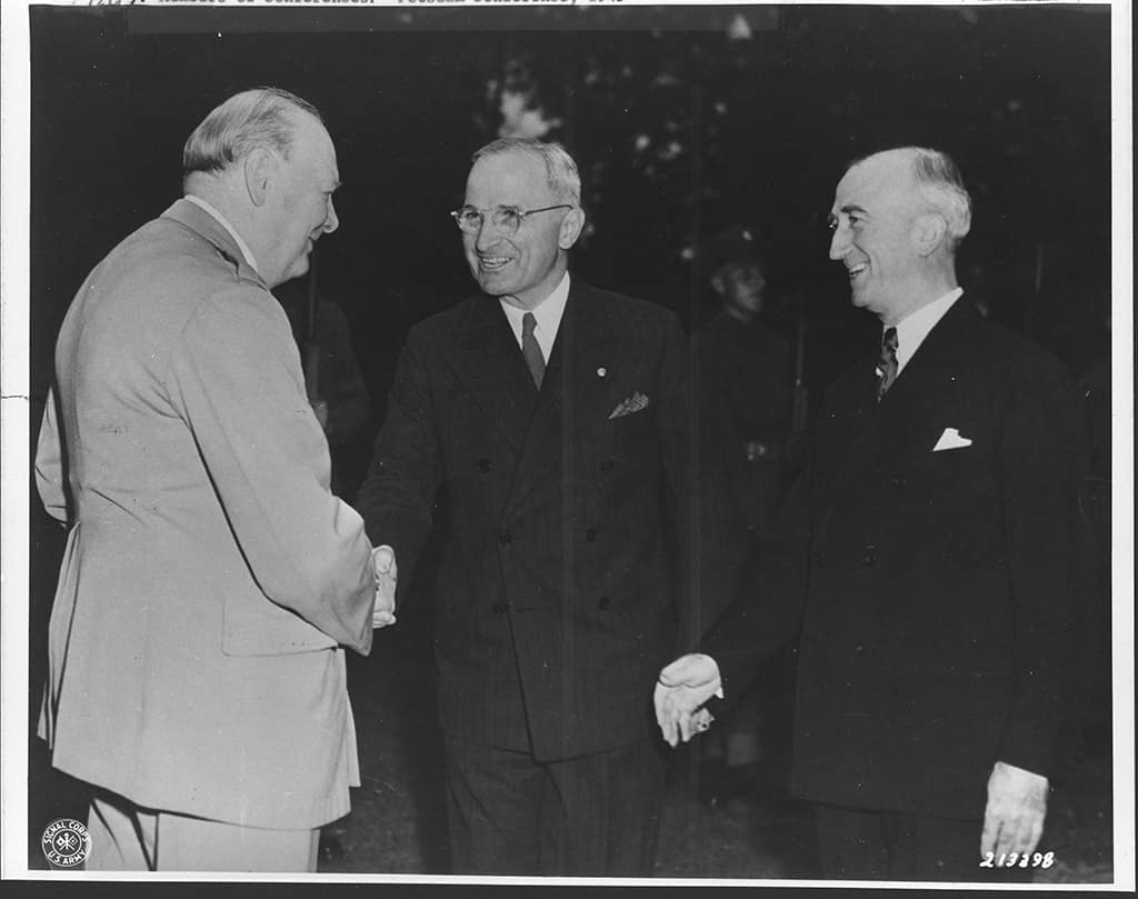The Potsdam Conference - July 23rd 1945 - Winston Churchill greets Truman and US Foreign Minister Byrnes