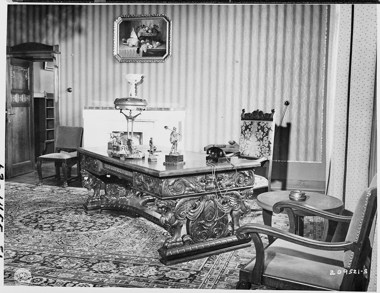 The Potsdam Conference - July 23rd 1945 - A hand carved desk sat in Harry Truman's office in the 'Little White House' during the Potsdam Conference