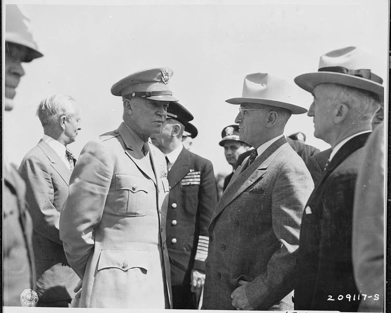 The Potsdam Conference - July 16th 1945 - Eisenhower chats with President Harry S. Truman at an airfield in Brussels, Belgium where the President is waiting to fly to Berlin