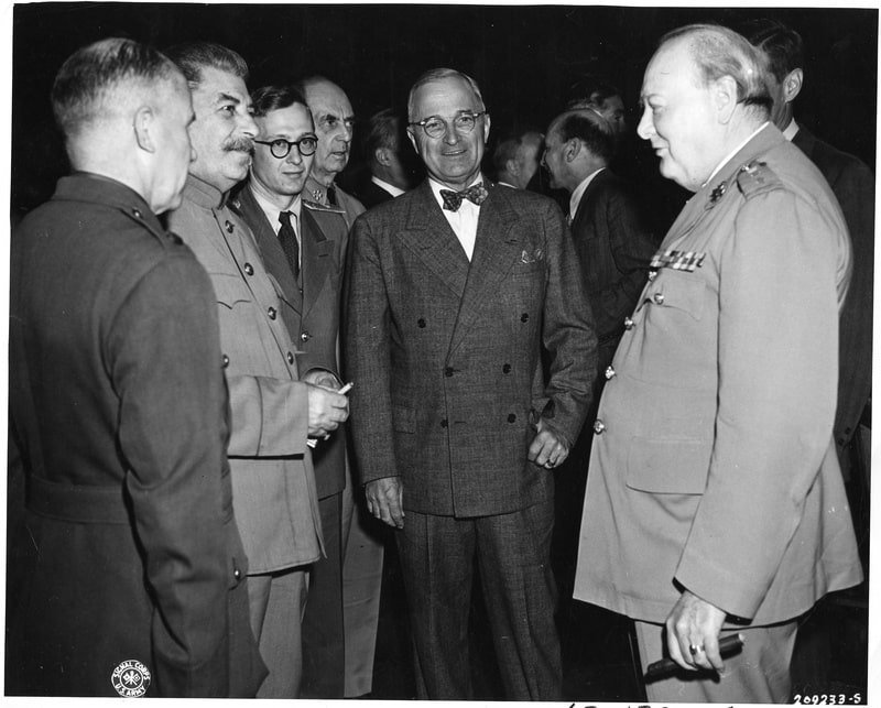 The Potsdam Conference - July 21st 1945 - Stalin, Truman, and Churchill exchange pleasantries