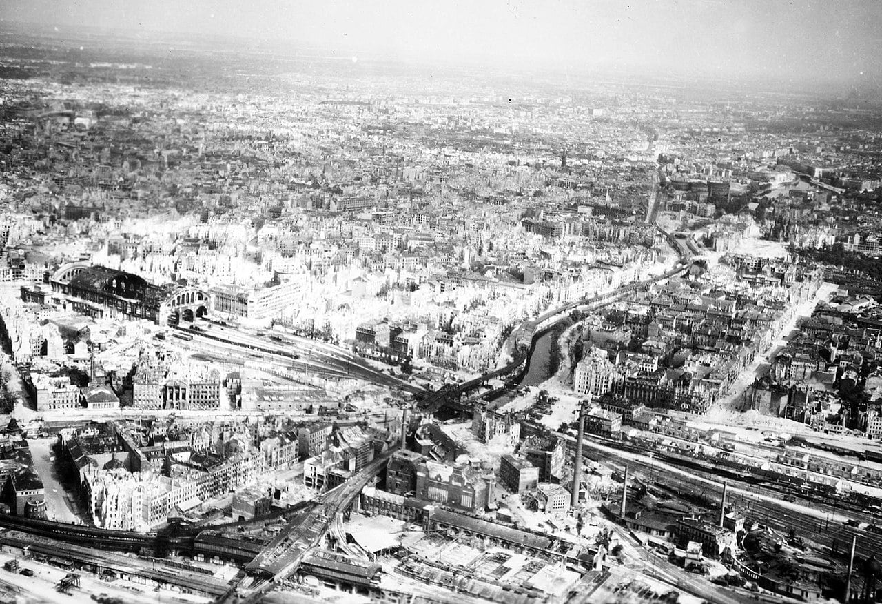 The Potsdam Conference - July 20th 1945 - An aerial view of Anhalter Bahnhof and central Berlin in 1945