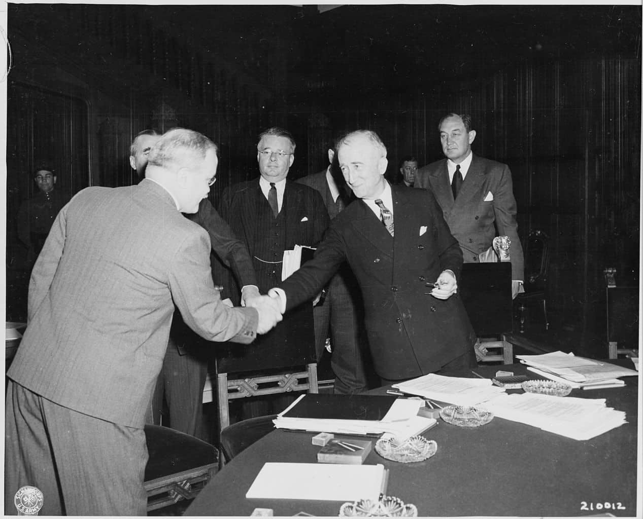 The Potsdam Conference - July 27th 1945 - Soviet foreign minister Vyacheslav Molotov, left, shakes hands with Secretary of State James Byrnes before the commencement of a session of the Potsdam Conference