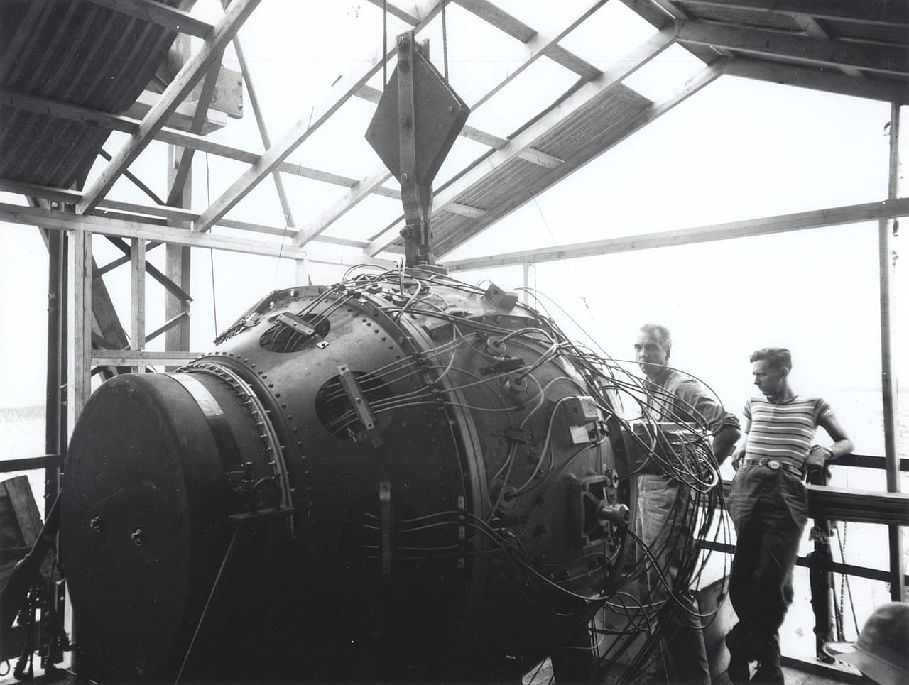 The Potsdam Conference - July 21st 1945 - The 'gadget' device in the Trinity Test Site tower awaiting detonation (pictured on July 15th 1945, one day before its successful use)/Image: Los Alamos National Laboratory