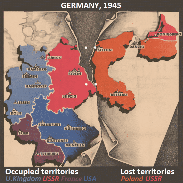 The Potsdam Conference - July 29th 1945 - A propaganda image illustrating the German territories that would be lost following the agreements made at the Potsdam Conference