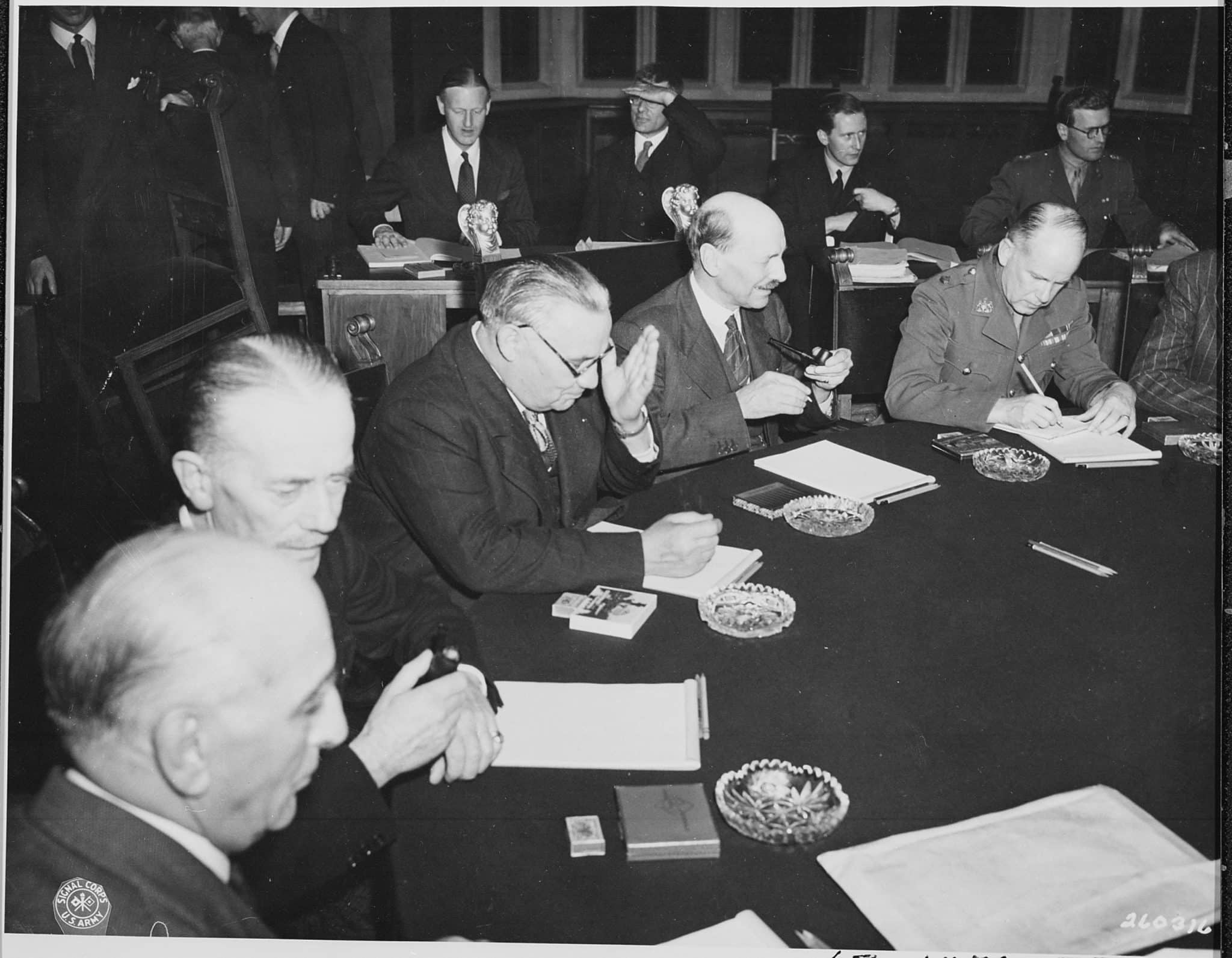 The Potsdam Conference - July 31st 1945 - Ernest Bevin, Minister of Foreign Affairs, and UK Prime Minister Clement Attlee at a Potsdam plenary session