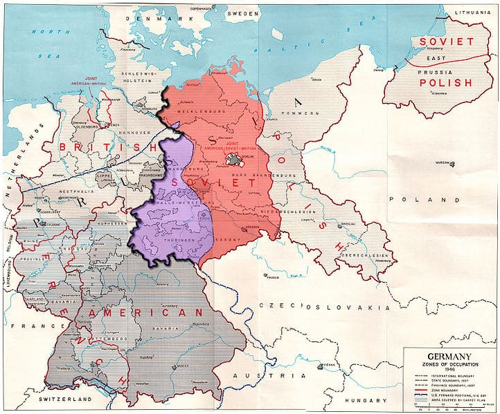 The Potsdam Conference - July 31st 1945 - Germany divided in 1945 with the territory acquired by Poland