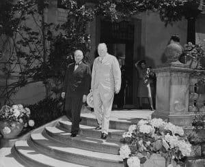 Harry Truman and Winston Churchill in Potsdam